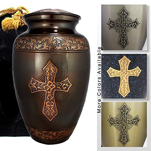 - Love of Christ - Antique Brushed Bronze - Funeral, Burial, Niche or Columbarium Cremation Urn for Human Ashes - 100% Brass - Large, Adult
