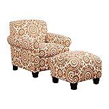 Handy Living Winnetka Chair & Ottoman in Orange Medallion For Sale