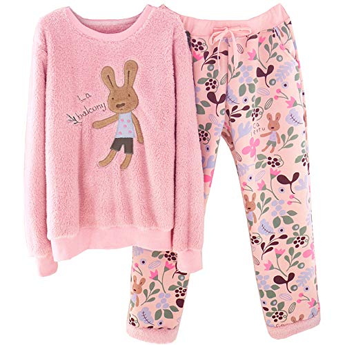 Animados Lindo Conjunto Mujeres Manga Las De Casa Mmllse Larga Pijamas Terciopelo Gruesa Dibujos Pink Cálido WxzqHw78An