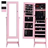 Cloud Mountain Mirrored Jewelry Cabinet Free Standing Lockable Jewelry Armoire Full Length Floor Tilting Jewelry Organizer with Mirror, 4 Angle Adjustable Organizer Storage, Pink
