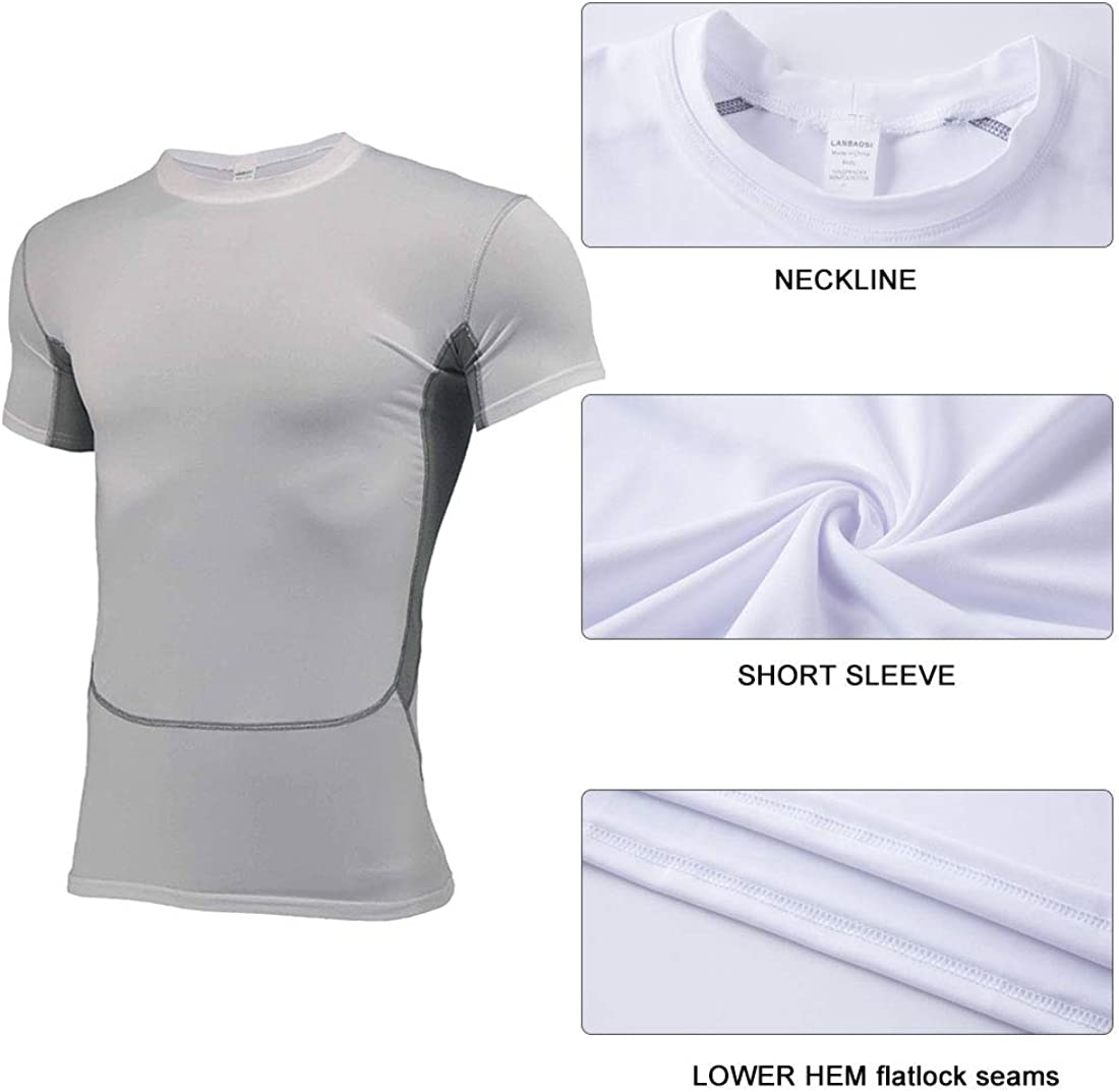 LANBAOSI Mens Football Undershirt Quick Drying Breathable Soft Short Sleeve Compression Shirts