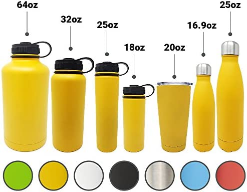 Double Wall 18//8 Pro-Grade Stainless Steel Water Bottle with Leak-Proof Stainless Cap 7 Colors and 7 Different Sizes to Choose Great Alkaline Water Bottle