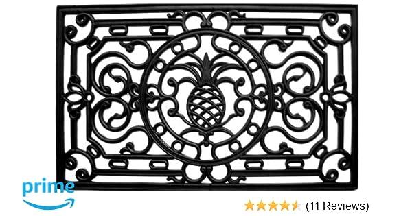 """Black 1/'5/"""" x 3/'5/"""" Home /& More 900081741 Pineapple Heritage Rubber Doormat"""