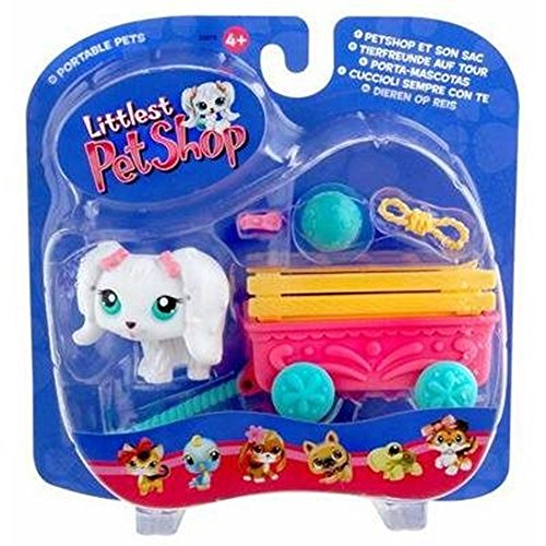 (Hasbro Littlest Pet Shop Pets On The Go Figure White Puppy Dog with Cute Wagon)
