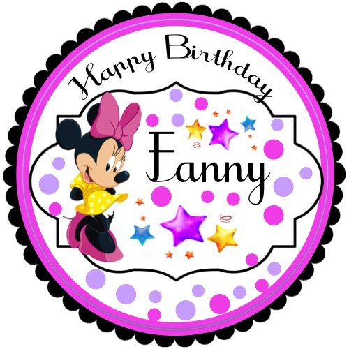 """40 Round Labels 2"""" Personalized Princess Minnie Mouse Party Birthday Stickers, Custom Hangtags, Minnie Mouse Girl Party Favors Labels, Cupcake Toppers, Choice Of Size"""