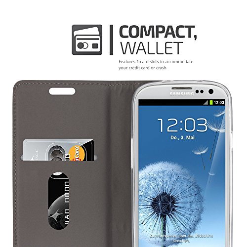 Cadorabo - Funda Estilo Book para Samsung Galaxy S3 de Diseño Tela / Cuero Arificial con Tarjetero, Función de Suporte y Cierre Magnético Invisible - Etui Case Cover Carcasa Caja Protección en GRIS-NE GRIS-CLARO-MARRÓN