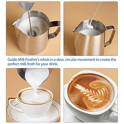 SimpleTaste Electric Foam Milk Frother, Handheld Battery Operated Whisk with Stainless Steel Stand, for Cappuccinos, Bulletproof Coffee, Latte