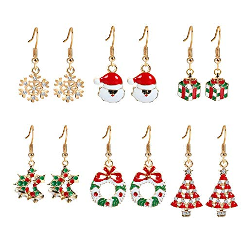 Vicanba Pendant & Drop Ornaments - Gifts Christmas Earrings Set 6 Pairs Golden Xmas Wreath Santa Claus Holly - 24k Cowboy Purple Garland Wreath& Christmas Cherry Hat Gold Ornaments Anchor Acorn But ()