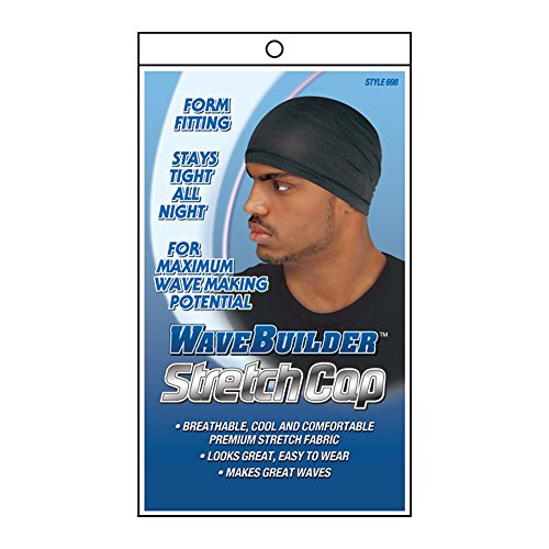 Boo Cap (WaveBuilder Stretch Cap | Breathable Cool and Comfortable Fabric for Smooth Hair Waves, Black)