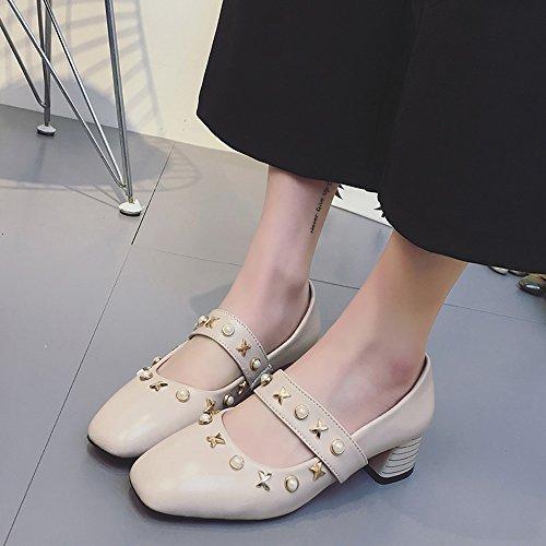 BUIMIN Zapato Zapatillas Casual PU Sólido Perla de Imitación Tacón Grueso Fácil de Quitarse Transpirable Para Verano Elegante Adaptado a Falda Pantalones Talla 34-41 Beige