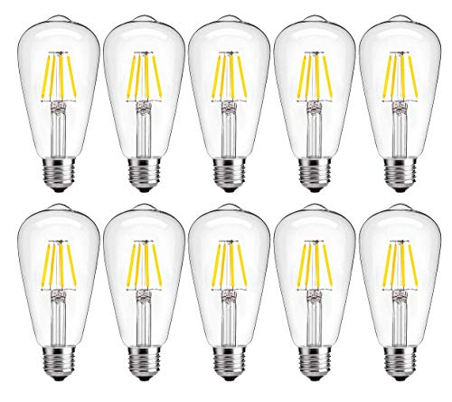 - Dimmable LED Edison Bulb 4W 2700K Warm White, 40W Incandescent Equivalent Vintage ST64 LED Filament Bulbs, E26 Medium Base, Clear Glass Cover, Pack of 10