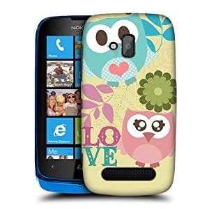 TopFshion Designs Pink and Blue Love Kawaii Owl Protective Snap-on Hard Back Case Cover for Nokia Lumia 610