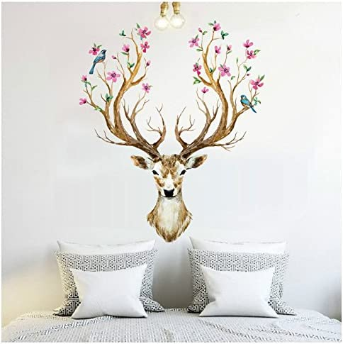 Amazon Com Xiaoying Misslight Deer Wall Stickers Antlers Branches Flowering Birds Living Room Bedroom Decoration Christmas Wall Decor Decal Colorful Home Kitchen