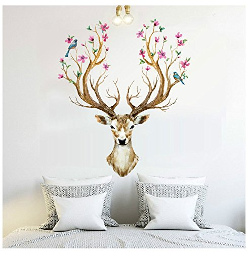 Misslight Deer Wall Stickers Antlers Branches Flowering Birds Living Room Bedroom Decoration Christmas Wall Decor Decal -