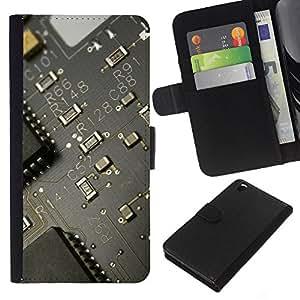 YiPhone /// Tirón de la caja Cartera de cuero con ranuras para tarjetas - PCB Junta Transistor - HTC DESIRE 816