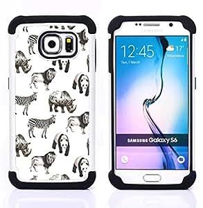 - animals Africa white black panda lion/ H??brido 3in1 Deluxe Impreso duro Soft Alto Impacto caja de la armadura Defender - SHIMIN CAO - For Samsung Galaxy S6 G9200