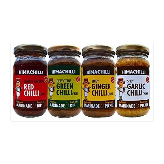 """Himachilli Red Chilli Pickle & Green Chilli Pickle & Ginger Pickle & Garlic Pickle """"The Chukh""""-Multipurpose Chilli"""