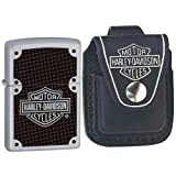 Zippo 24025-HD Harley Davidson Satin Chrome Windproof Lighter with Harley Davidson Loop Pouch