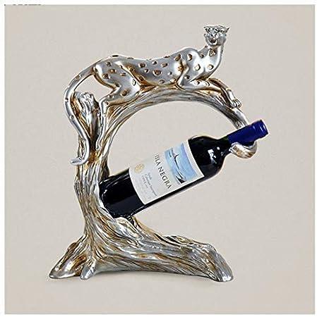 LXLH Leopard Wine Rack Artesanía Decoración Creativa Salón Europeo Arte Vino Conducción Vinoteca Decoración de Muebles para el hogar (Color: Plata)
