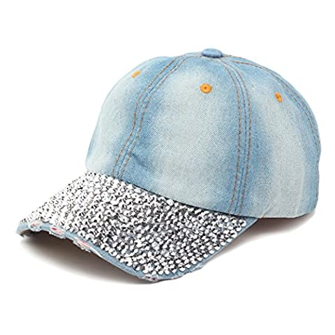 Raylans Women Men Adjustable Rhinestone Studded Bling Tennis Baseball Cap Sun Cap Hat,2# - Cotton Tennis Hat