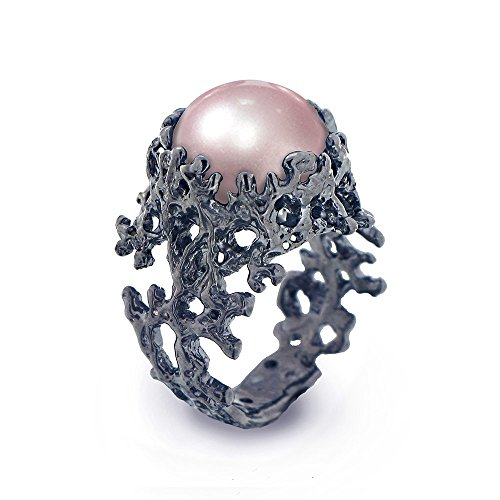 Black Oxidized Sterling Silver, Large 13mm Freshwater Cultured Pink Pearl, Coral Organic Statement Ring, Sizes 4 to 13
