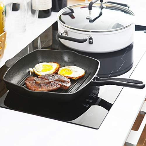 BOWCORE 26cm Fonte Steak Place Pan antiadhésifs Poêle Barbecue Steak spécial rayé Pan Accueil Camping en Plein air Batterie de Cuisine
