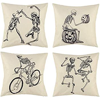 peony man Halloween Skull Pillow Covers, Skull and Pumpkin Throw Pillowcase Skeleton Cotton Linen Pillow Cushion Cover for Halloween Home Car Sofa Bedding Couch Decor, 18 x 18 Inch