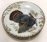 222 Fifth Golden Hill Wild Turkey Salad Plates with Gold Underside | Set of 4 | Fine Porcelain