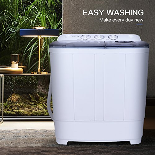 BOCCA Portable Washing Machine, with Electric Drain Pump,Mini Twin Tub Washer and Dryer Combo 24 LBS Large Capacity