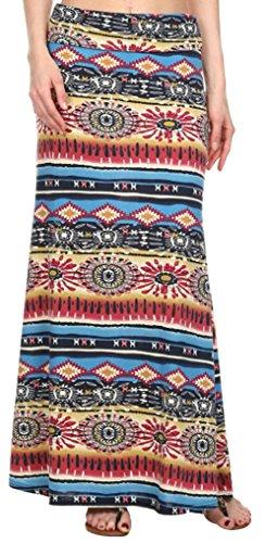 Simplicity Women Tribe Print Foldover Waist Maxi Skirts, Multi-color #110, L/XL