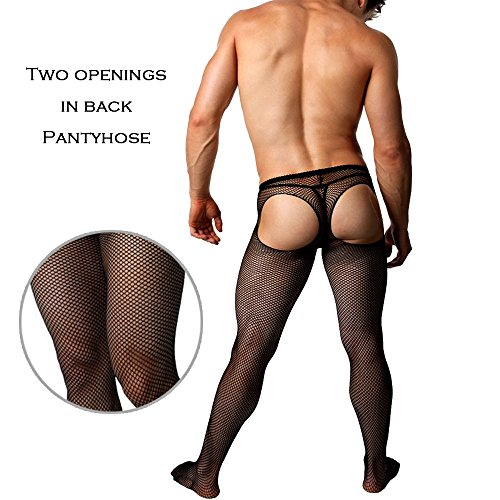 Chris&Je Mens Open-butt Fish-Net Pantyhose