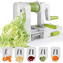 Spiralizer 5-Blade Vegetable Spiralizer Sedhoom Foldable Spiral Slicer Zucchini Noodle Veggie PastaSpaghetti Maker for Low Carb Paleo Gluten-Free Meals
