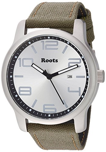 Roots Men's Core Stainless Steel Japanese-Quartz Watch with Canvas Strap, Green, 22 (Model: 1R-LF420SI6G) (Roots Canada Watch)
