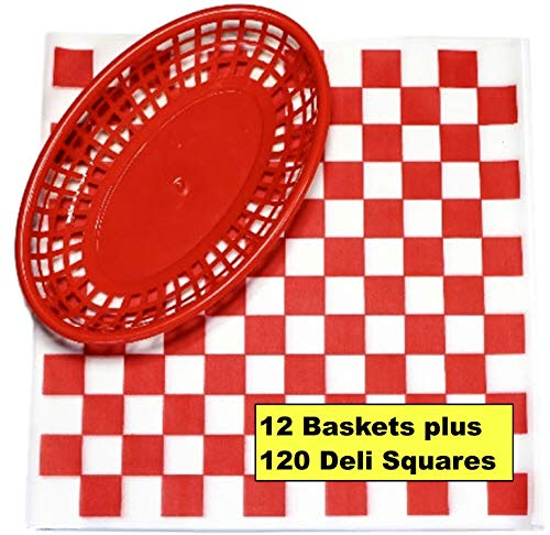 (12 Red Plastic Oval Food/Burger Baskets plus 120 Checkered Deli Paper Liners. Restaurant/Food Tray Basket Sets for Barbecues, Picnics, Parties, Kids Meals, Outdoors.)