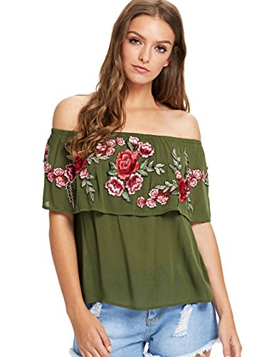 Floerns Women's Ruffle Off Shoulder Rose Embroidery Loose Blouse Top Army Green -