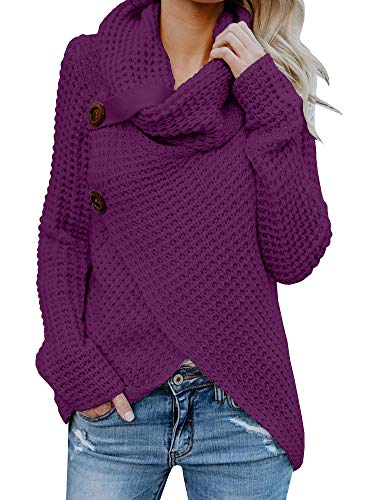 Chunky Hooded Cardigan - Womens Sweaters Cowl Neck Chunky Cable Knit Hooded Wrap Cardigan Pullover Sweater Coats with Button (S-XXL) (L, Purple)
