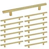 Brass Kitchen Cabinet Drawer Pulls Stainless Steel - Homdiy HD201 5'' Center to Center Gold Cabinet Hardware Bathroom Furniture Office Desk Drawer Dresser Handles 15 Pack