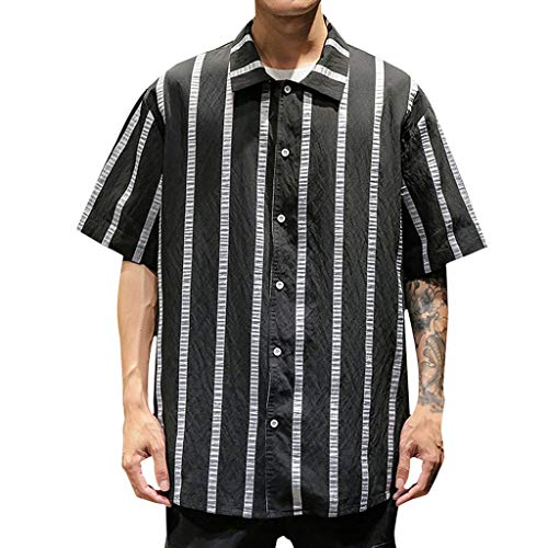 iHPH7 Shirts Big and Tall Short Sleeve Fishing Shirt Striped Button Pocket Casual Loose Men (XL,Black) -