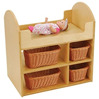 Good Doll Changing Table   Includes 4 Wicker Baskets