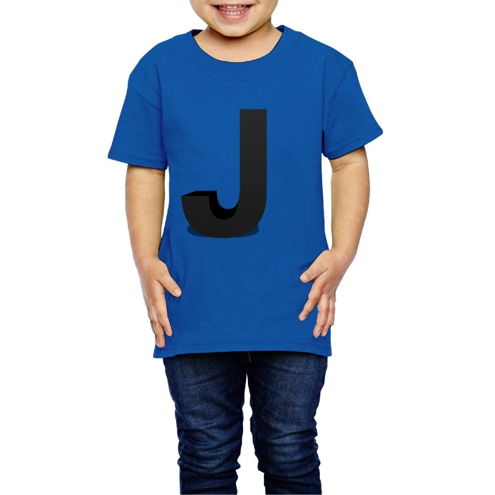 Girls 3D Creative Letter J Tshirts Photoshoots Or Hiking Camping Travel Vacation T-Shirt Or Daily Wear RoyalBlue 5-6 Toddler