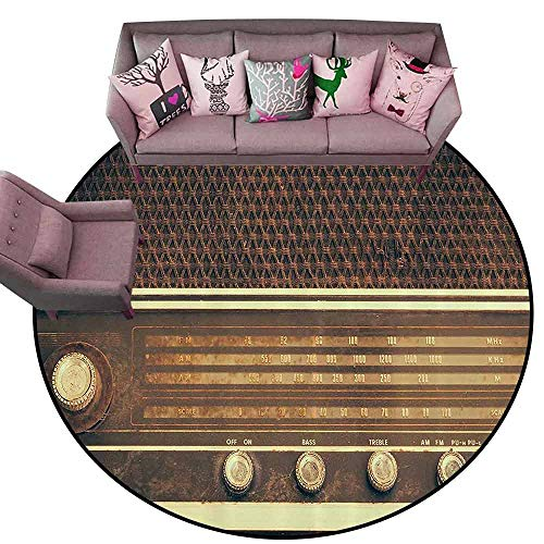 (Multi-USE Floor MAT Vintage Decor,Old Antique Retro 60s Radio Music Player Loudspeakers Buttons Image,Brown and White Diameter 48