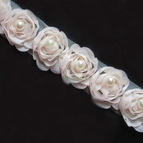 "12 White 2/"" Satin Ribbon Pearl Chain Bow//Trim ~ for Wedding//Craft"