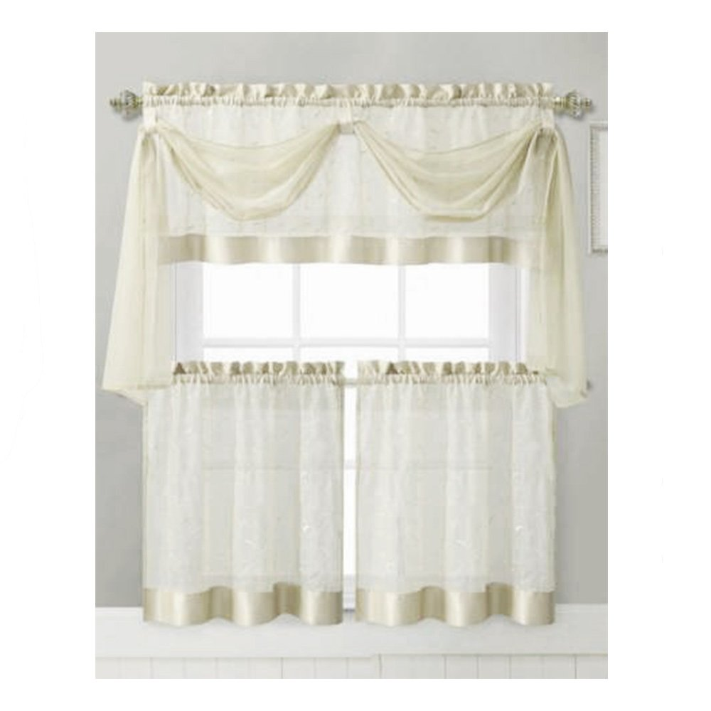 Amazon.com: Vine Embroidered Kitchen Window Curtain Set  1 Valance With  Voile Scarf, 2 Tier Panels (Beige): Home U0026 Kitchen