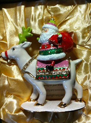 Reindeer Jeweled Box - DEPARTMENT 56 SANTA RIDING REINDEER JEWELED BOX BRAND NEW IN BOX