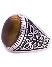 Men's Silver Ring with Tiger Eye Stone Brown color size US 9