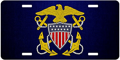 Premium Aluminum License Plate - U.S. Navy, Officer badge