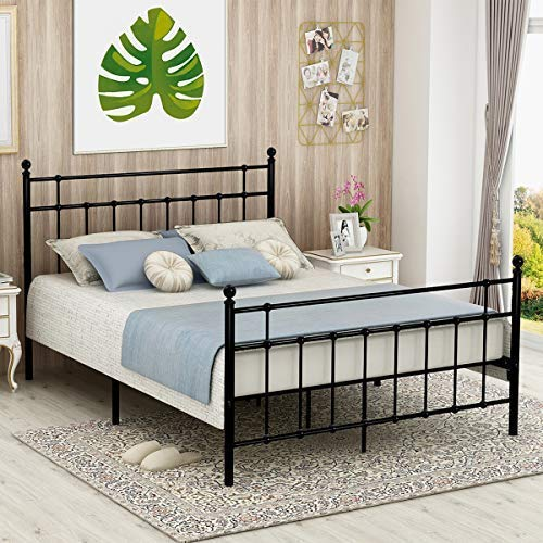 (Victorian Vintage Style Platform Metal Bed Frame Foundation Headboard Footboard Heavy Duty Steel Slabs Queen Full Twin Vintage Black Finish 637 (Queen))