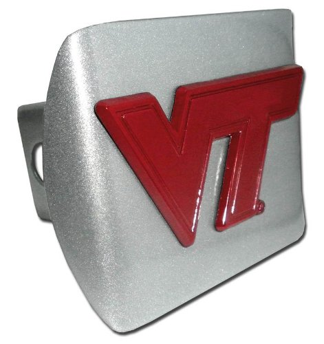 Virginia Tech Hokies Brushed silver Burgandy VT NCAA Trailer Hitch Cover Fits 2 Inch Cat Truck Auto Receiver