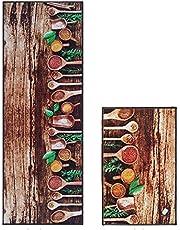 Kitchen Wood Spoon Background Mat Mat Mat Mat Set - 2pcs