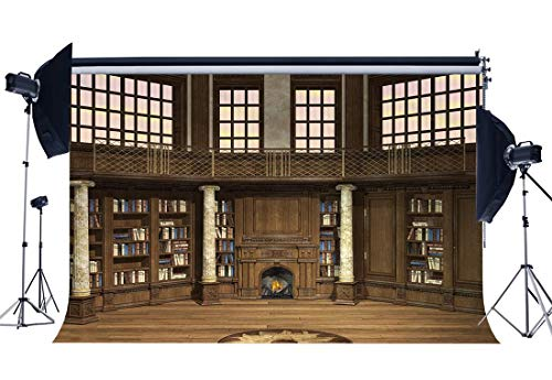 - SZZWY 9X6FT Bookshelf Backdrop Old Library Fireplace Stone Pillars Vintage Window Magic Books Wood Floor European Interior Vinyl Photography Background Kids Adults Photo Studio Props CA1022